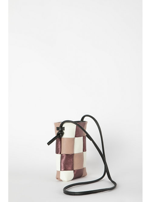 Colorblock Dusty Pink Leather Pouch, Hug Bags