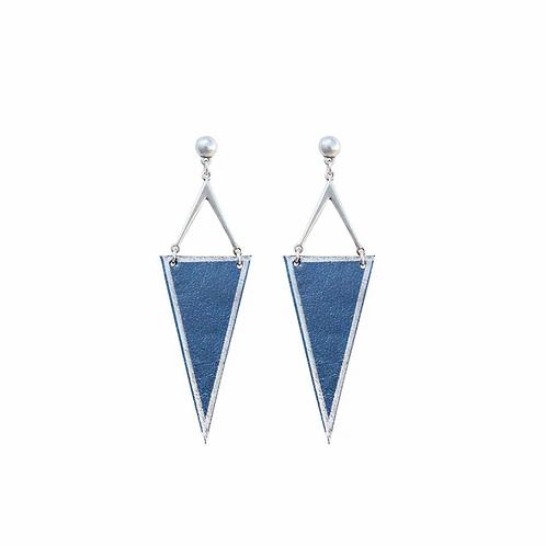 Rhombus Earrings Deep blue, Leather Trinkets
