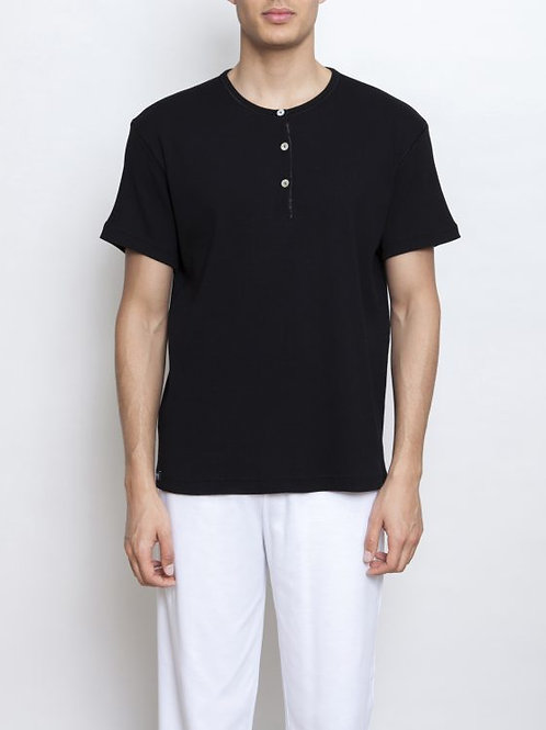 Parthenis Ribbed cotton Black