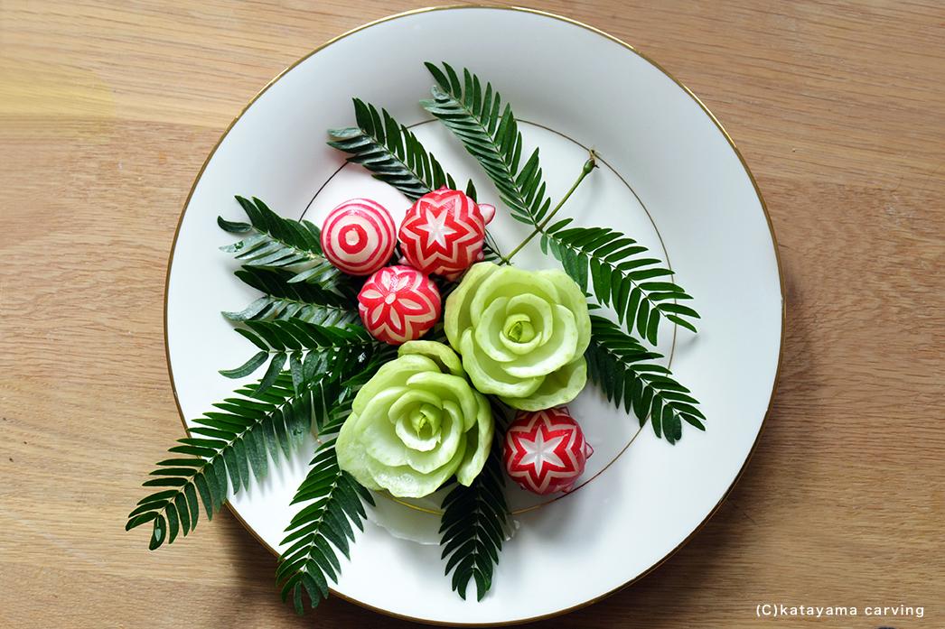 野菜彫刻/青梗菜&ラディッシュ