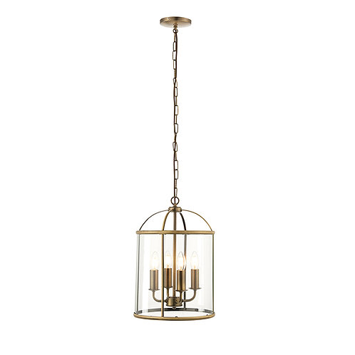 Lambeth 4lt pendant 40W Antique Brass & Clear Glass