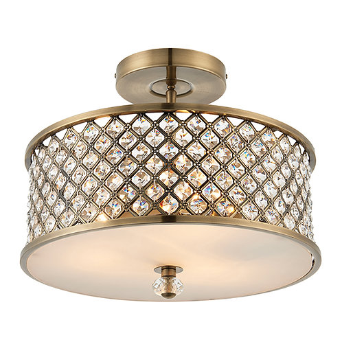 Hudson 3lt semi flush 60W Antique Brass&Clear