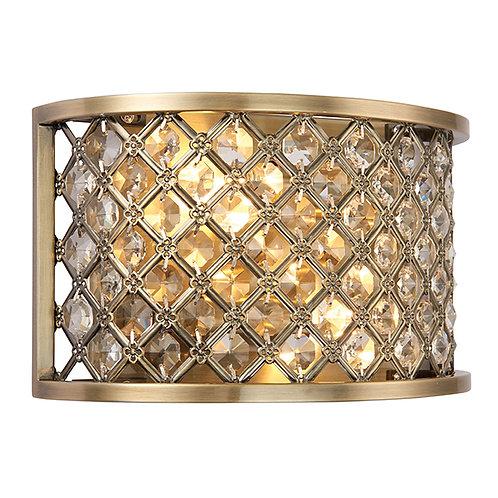 Hudson 2lt wall 60W Antique Brass&Clear