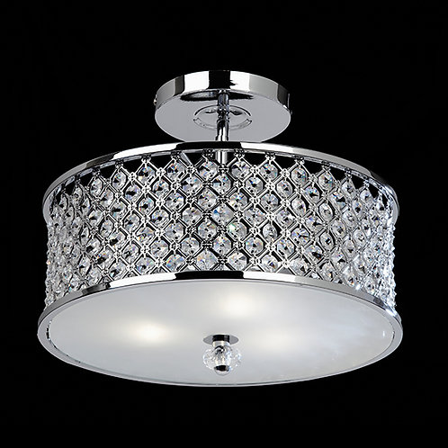 Hudson 3lt semi flush 60W Chrome&Clear Crystal