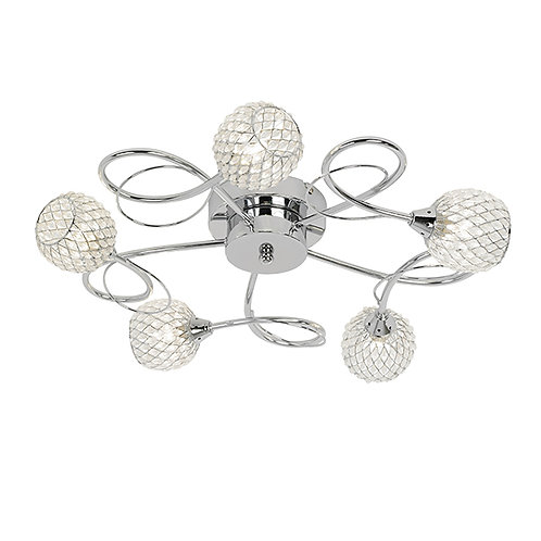 Aherne 5lt semi flush 33W Chrome and Clear
