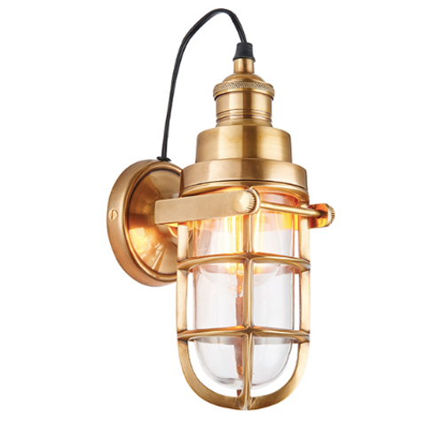 Elcot 1lt wall 15W Solid Brass & Clear Glass