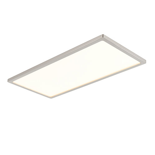 Ceres 450mm rectangle flush 20W warm white Satin Nickel & Opal Plastic