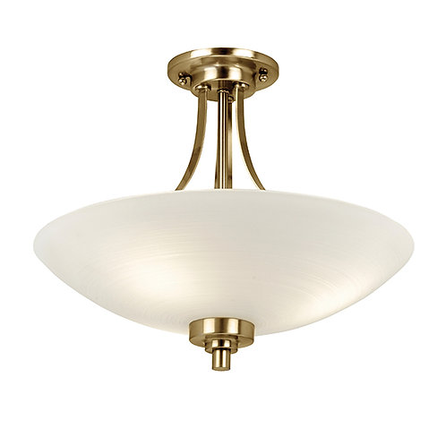 Welles 3lt semi flush 60W Glass & Antique Brass