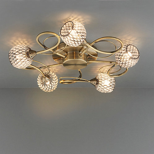 Aherne 5lt semi flush 33W Antique Brass and Clear
