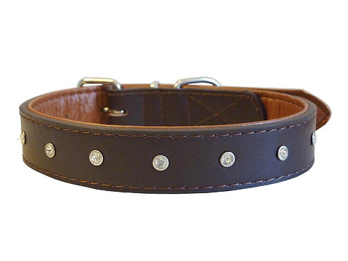 Diamante Brown Collar - Large