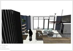 3D perspetctief woonkamer interieurontwerp nieuwbouwwoning Noorderkwartier Amsterdam Noord