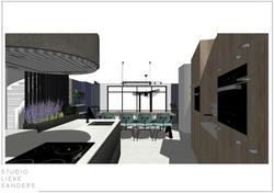 3D keuken interieurontwerp nieuwbouwwoning Noorderkwartier Amsterdam Noord