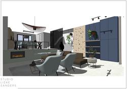 3D perspectief woonkamer, speelhoek met maatwerk kast interieurontwerp nieuwbouwwoning Noorderkwarti