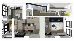 plattegrond in 3d perspectief interieuro