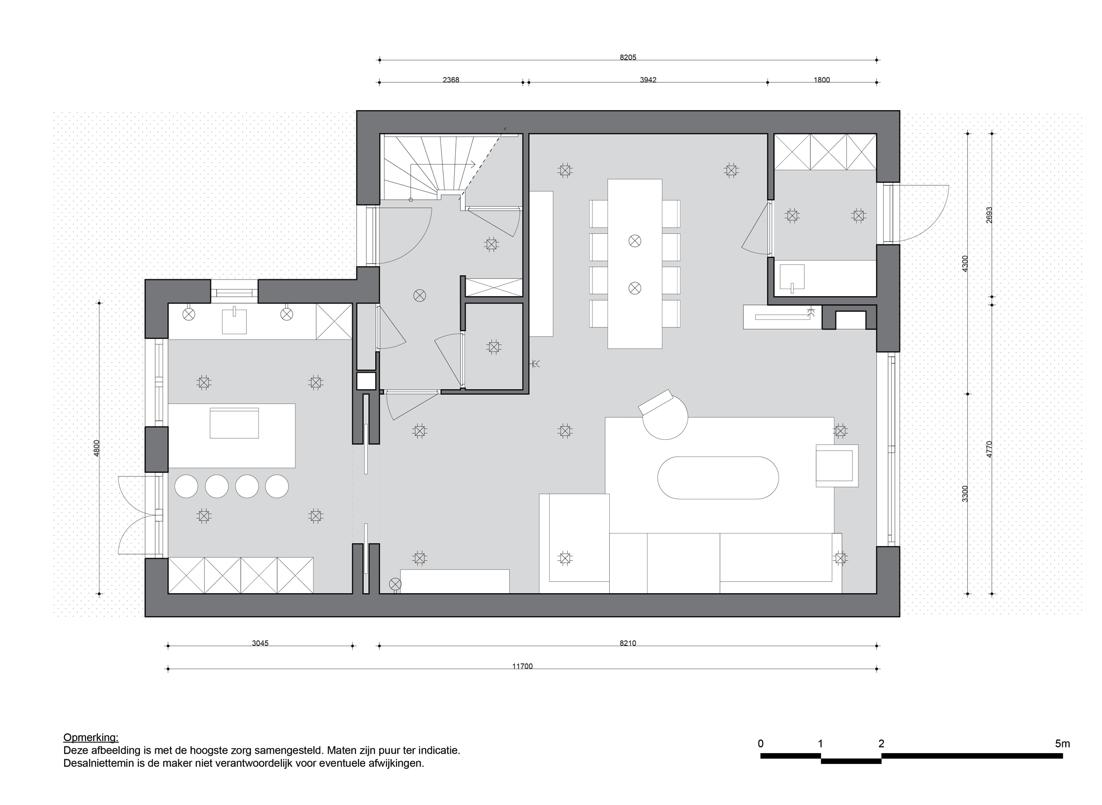 Plattegrond indeling en lichtplan interi