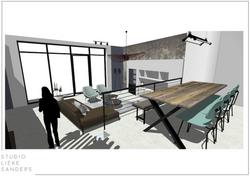 3D perspectief woonkamer interieurontwerp nieuwbouwwoning Noorderkwartier Amsterdam Noord