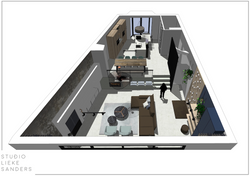 3D perspectief interieurontwerp nieuwbouwwoning Noorderkwartier Amsterdam Noord