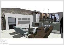 3D perspectieftekening woonkamer interieurontwerp nieuwbouwwoning Noorderkwartier Amsterdam Noord.