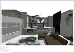 3D perspectief woonkamer met elektrische haard interieurontwerp nieuwbouwwoning Noorderkwartier Amst