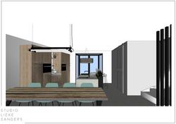 3D perspetctief keuken en eetkamer interieurontwerp nieuwbouwwoning Noorderkwartier Amsterdam Noord