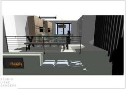 3D perspetctief elektrische haard en eetkamer interieurontwerp nieuwbouwwoning Noorderkwartier Amste