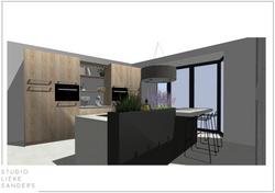 3D perspetctief keuken interieurontwerp nieuwbouwwoning Noorderkwartier Amsterdam Noord