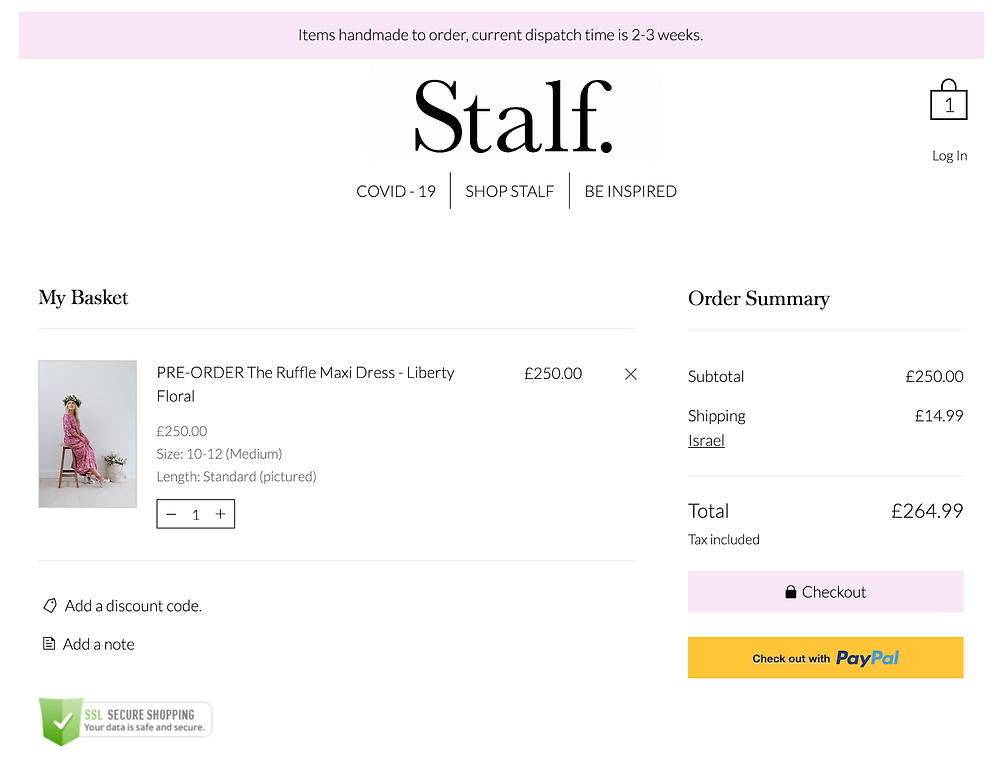 stalf checkout page