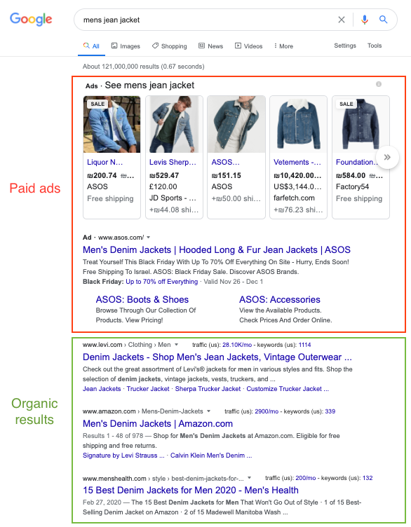 ecommerce seo organic results example