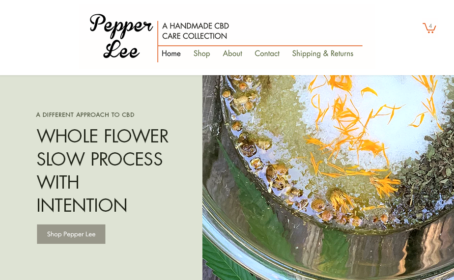 Pepper Lee CBD homepage