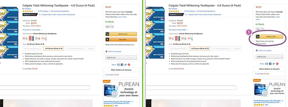 Amazon A/B testing example