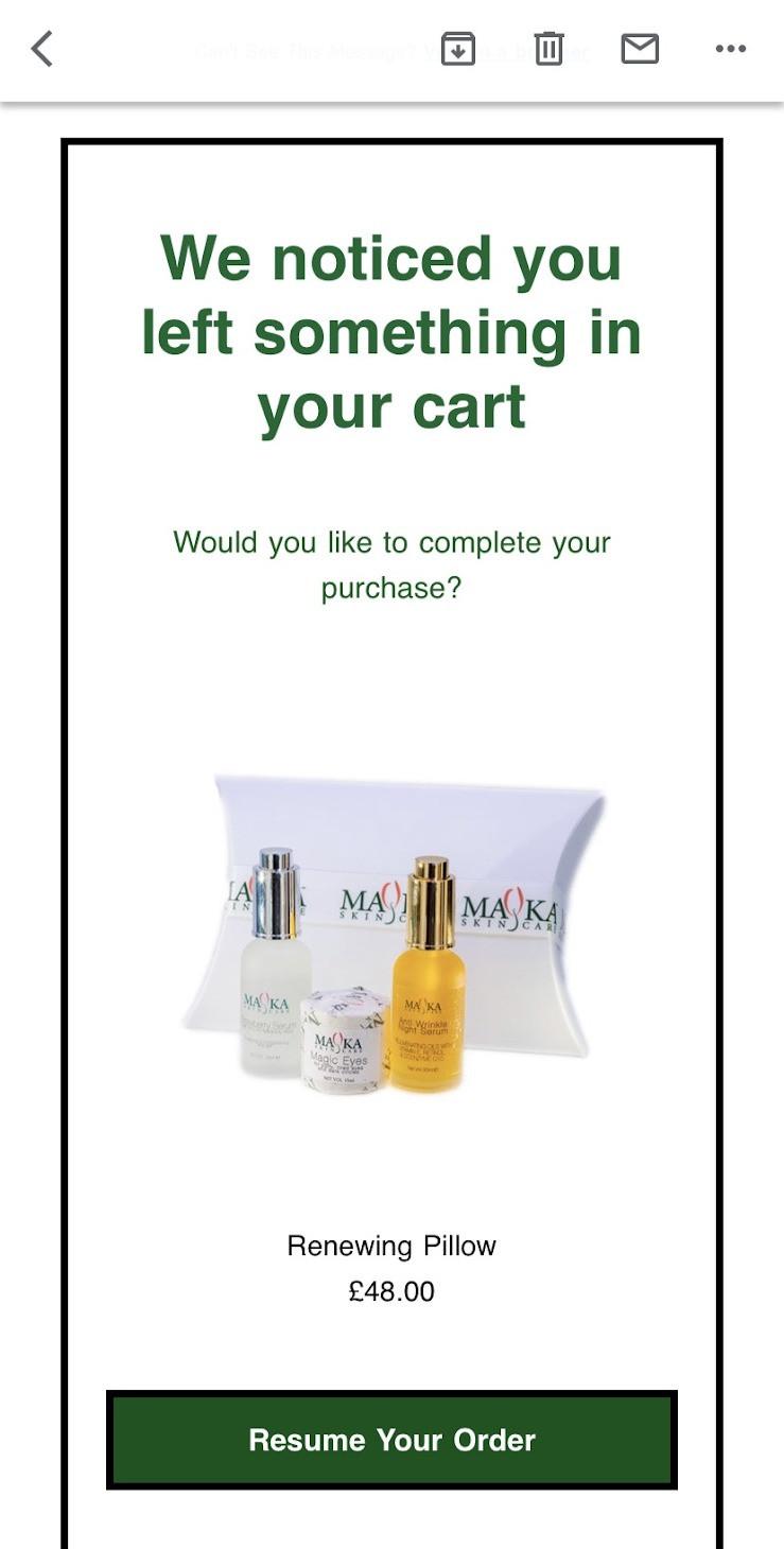 abandoned cart email example mayka skincare