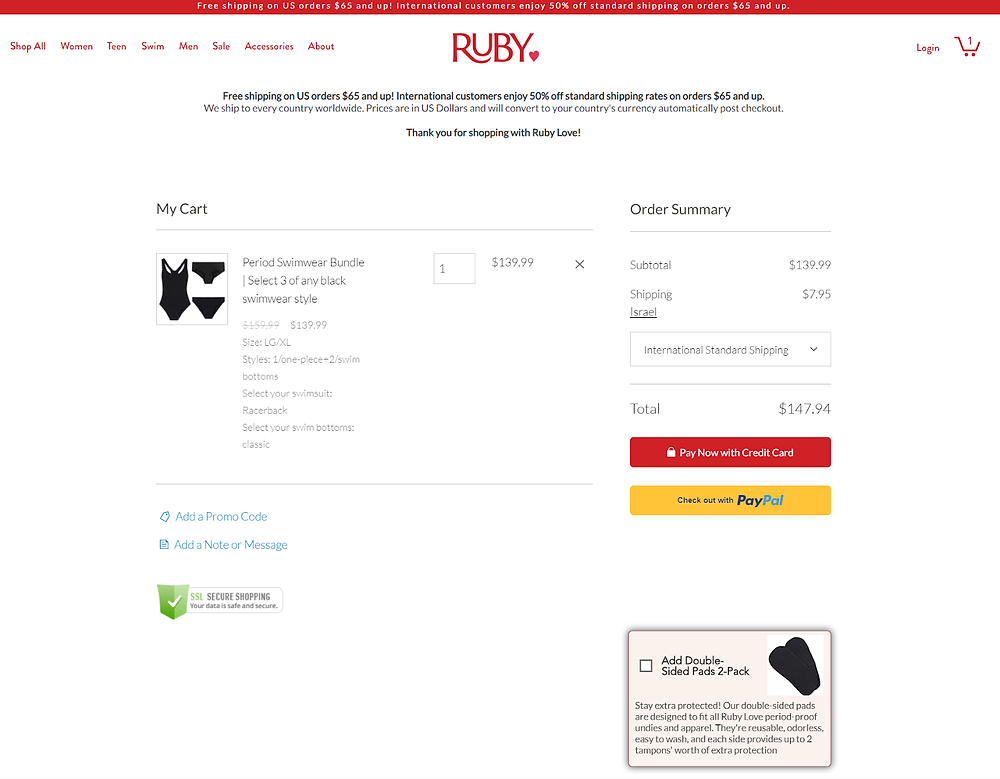 Ruby Love shopping cart