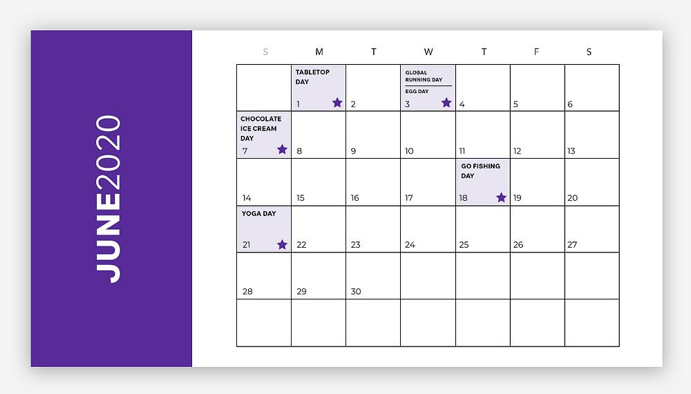 social media calendar june