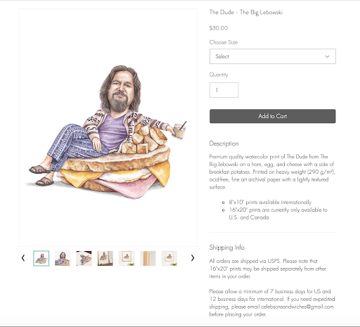 Celebs on Sandwiches The Big lebowski product page