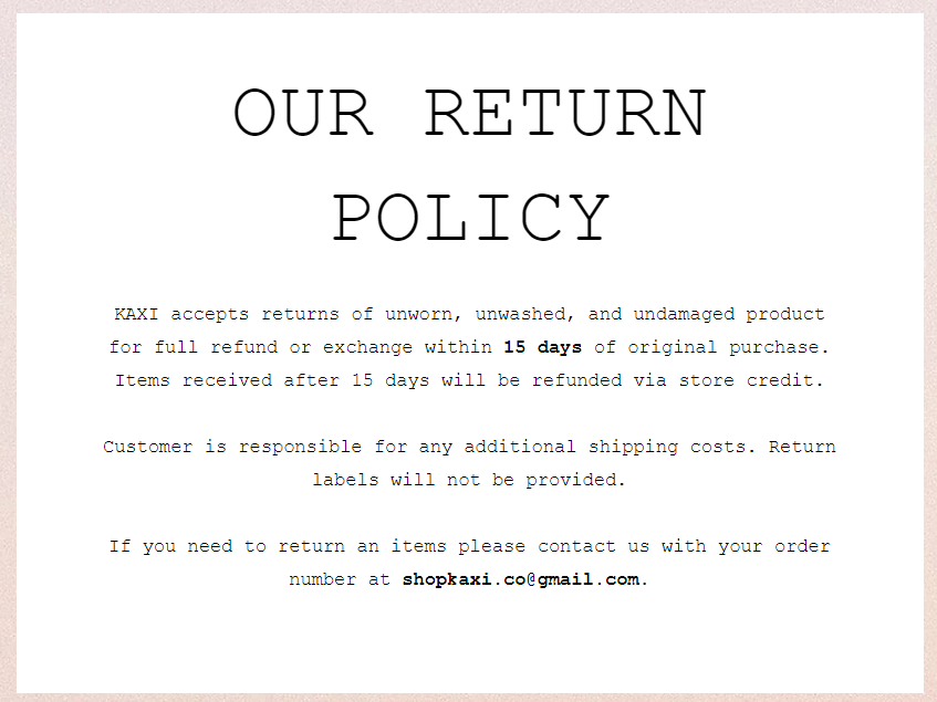 kaxi return and refund policy