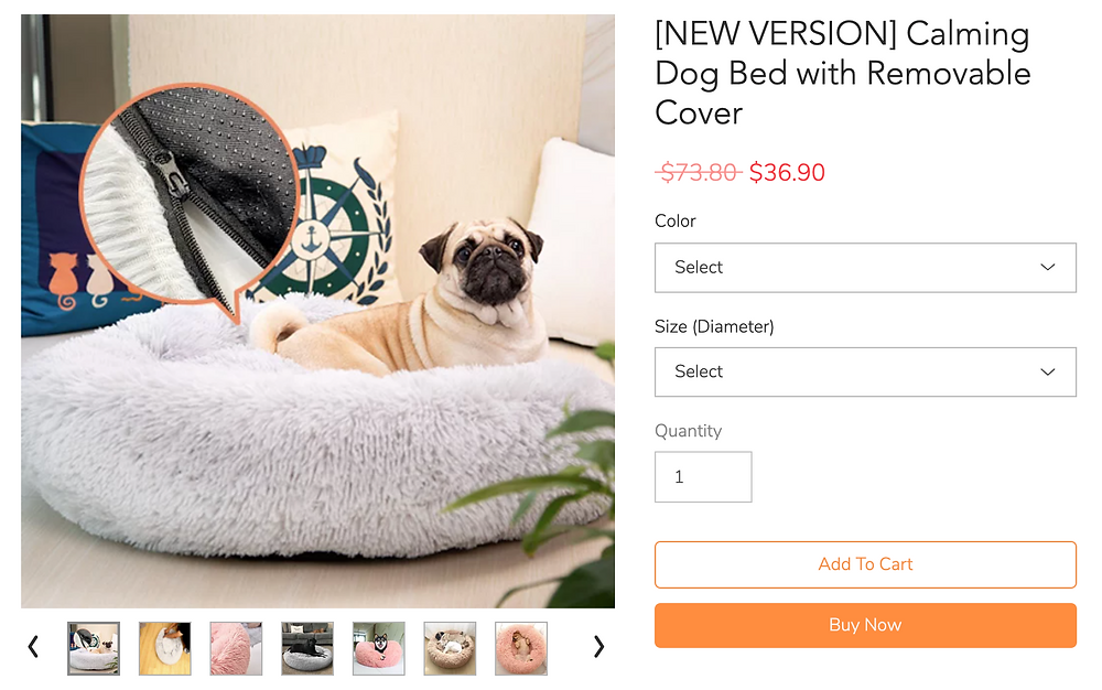 Abbsyspace product page calming dog bed