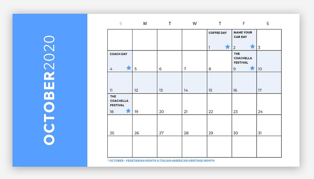 social media calendar october