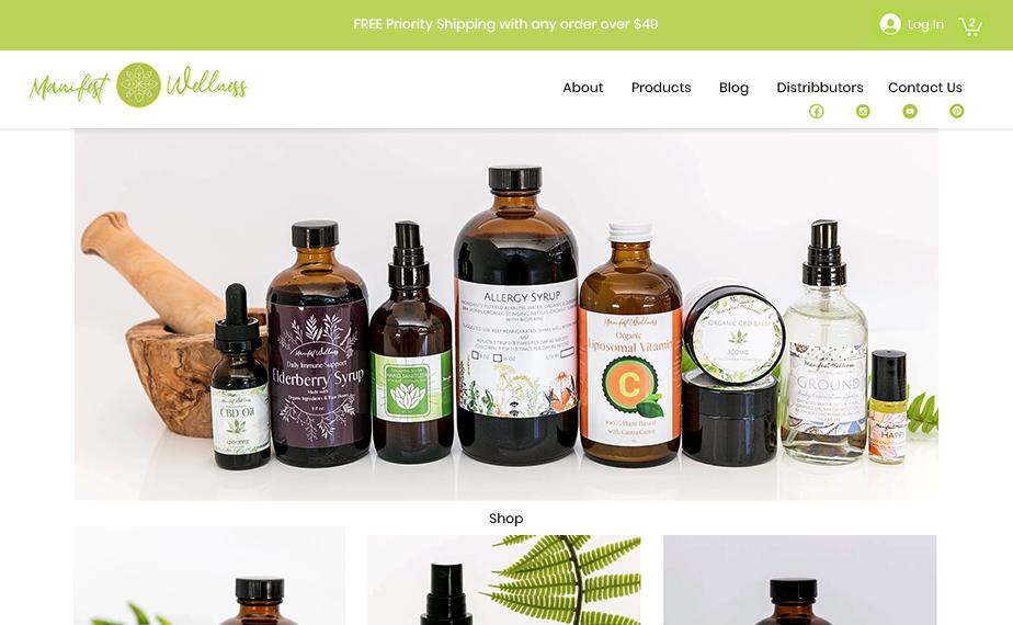 Manifest Wellness cbd homepage