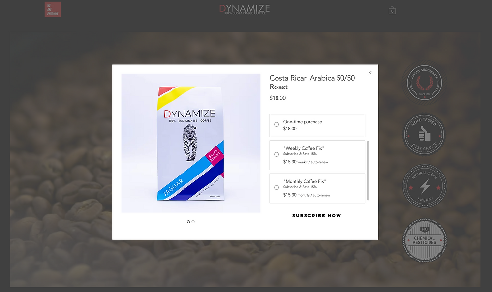 Dynamize coffee subscription