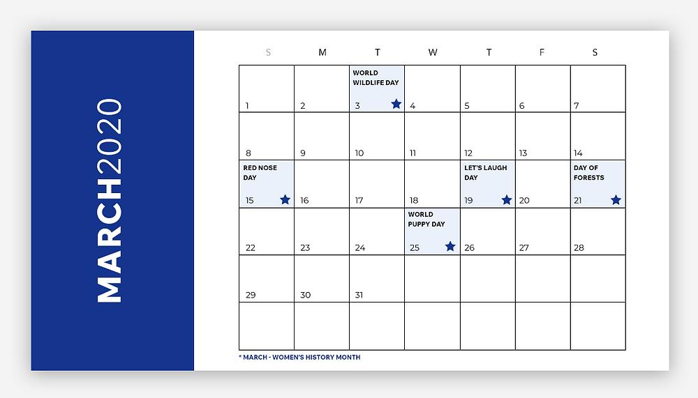 social media calendar march