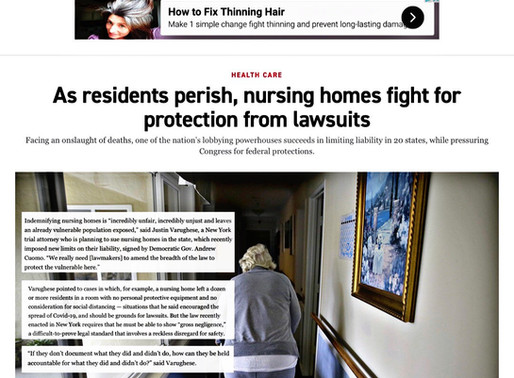 POLITICO features Leitner Vaughese Warywoda lawyers fighting for nursing home victims' rights