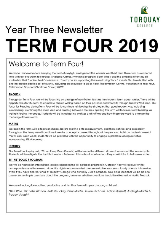 Year Three - Term Four Newsletter