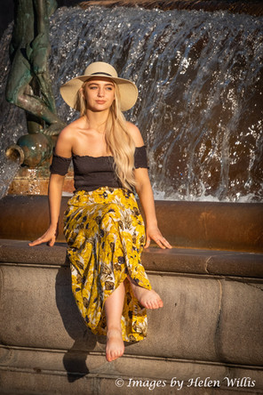 Posing At The Fountain