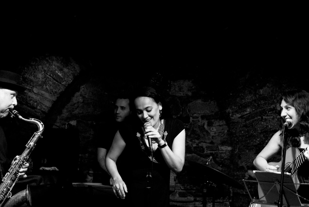 on stage with tribute to jobim with tony lakatos, davide petrocca & zelia fonseca