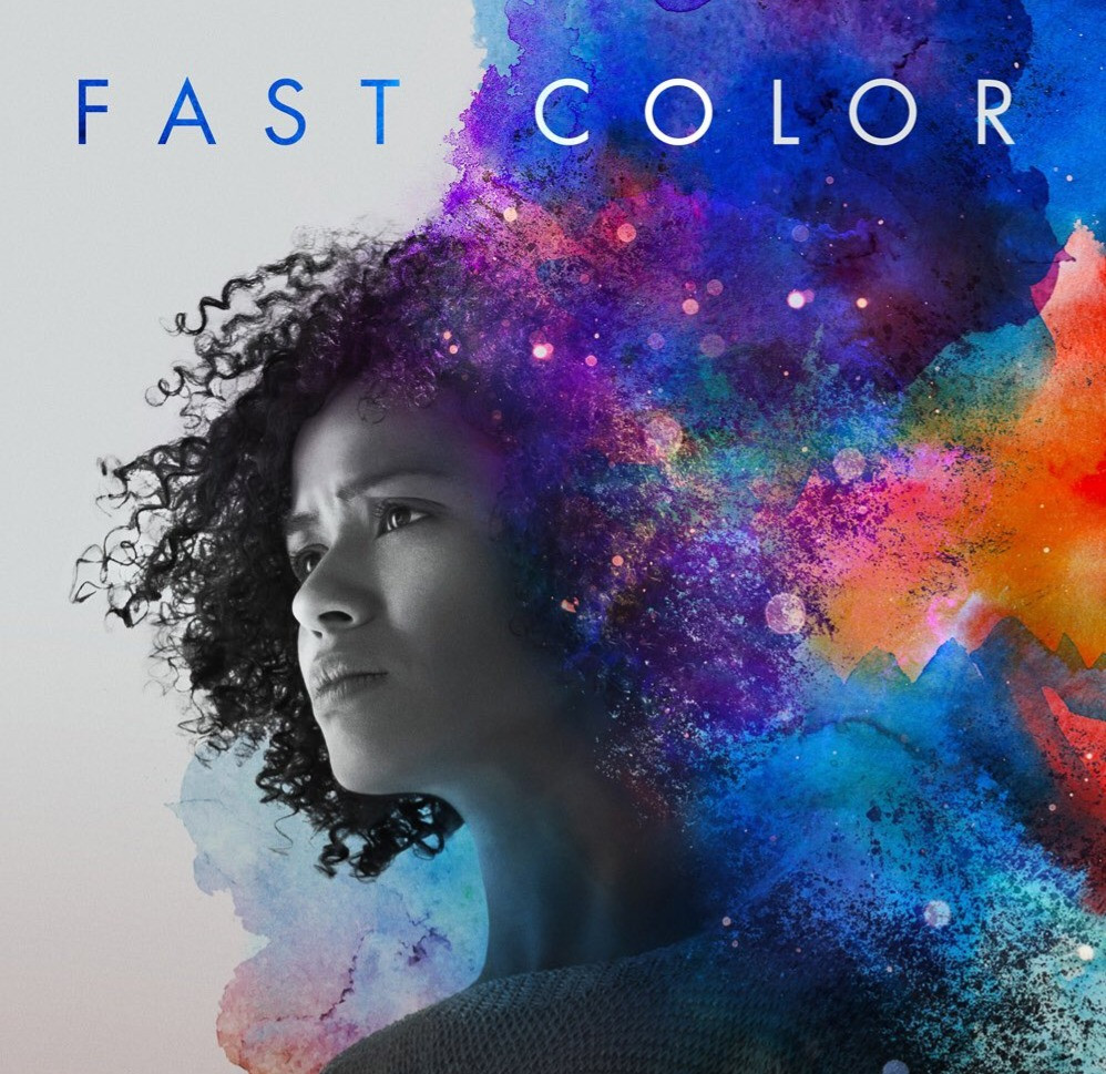 Promo picture for the movie Fast Color with actress Gugu Mbatha-Raw in grey-scale, gazing to the left. streaming from her to the right is a wash of saturated water color.