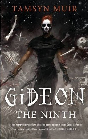 Against a star-filled sky, surrounded by exploding skeletons stands a fighting-fit ginger-haired woman, her rapier in her right hand extended.  She faces the reader, her face obscured by skull paint and her eyes masked by aviator glasses.