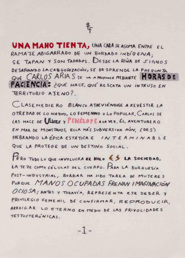 Primera página de un texto de Lorna Scott bordado por el artista