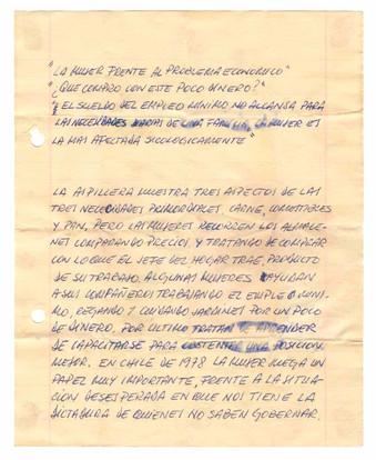 Mensaje incluido en la arpillera Almacenes