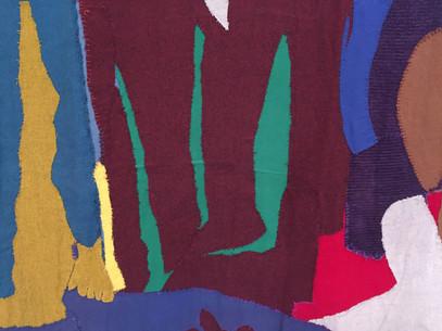 Detalle. Gracia Barrios. Multitud III, 1972, retazos de telas cosidas, 300 x 800 cm, MSSA.