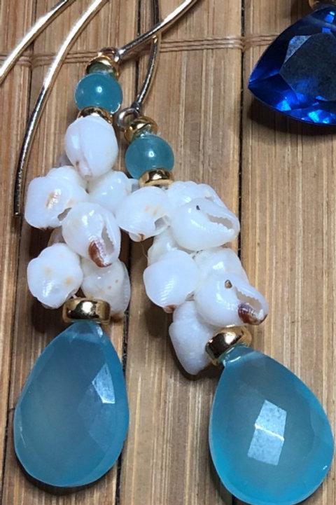 Ni'ihau Momi Shells Earrings with Hemimorphite Beads